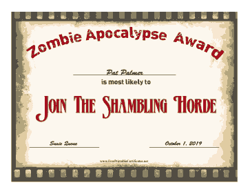 Zombie Award Join The Horde certificate