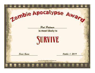 Zombie Award Survive certificate