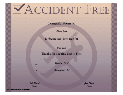 Accident Free certificate