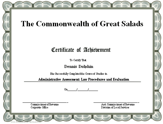 Professional Certificate of Achievement certificate