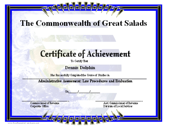 Earth Certificate of Achievement certificate