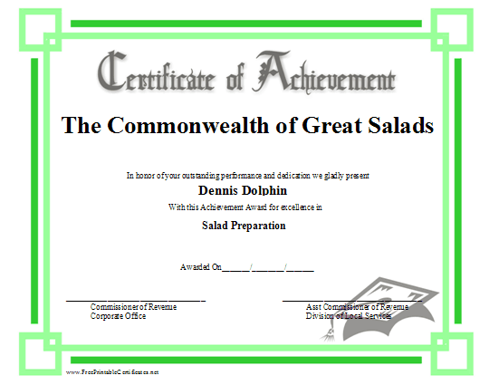 Achievement - Mortarboard certificate