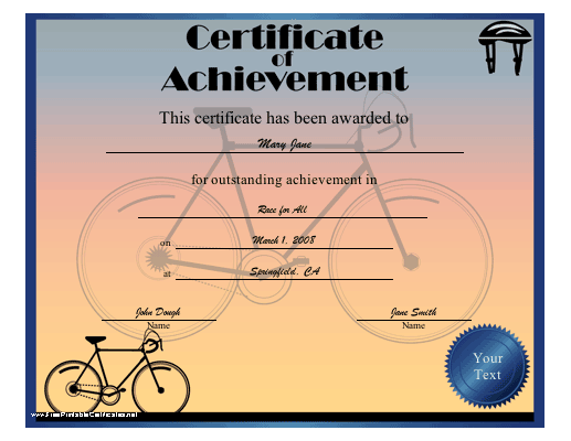 Achievement - Cycling certificate