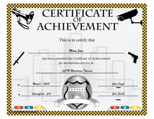 Achievement - Law Enforcement and Security certificate