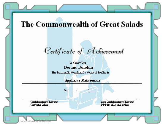 Achievement - Appliances certificate