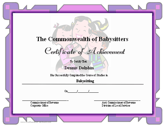 Achievement - Babysitting certificate