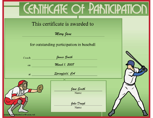 Baseball Participation certificate