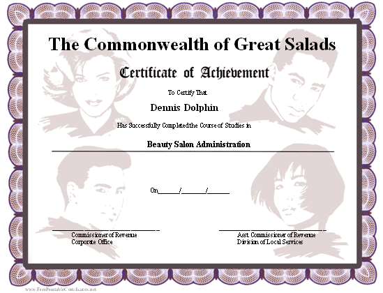 Achievement - Beauty School certificate