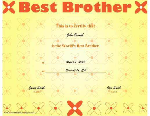 Best Brother certificate