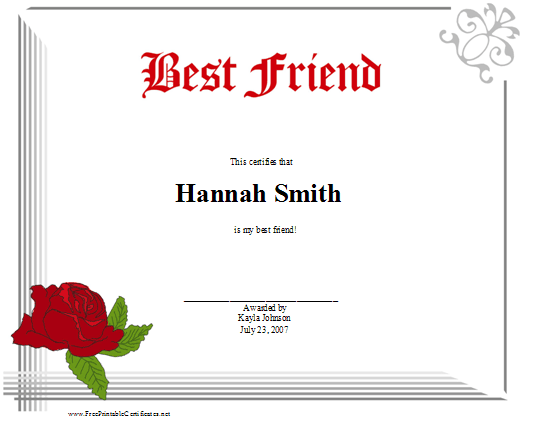 Best Friend certificate