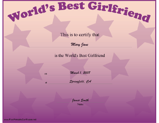 Best Girlfriend certificate