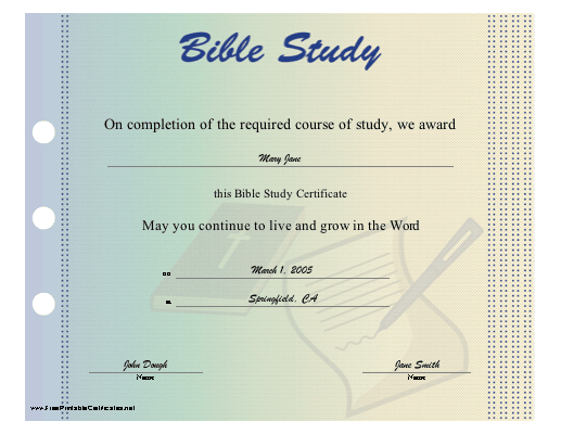 Bible Study certificate