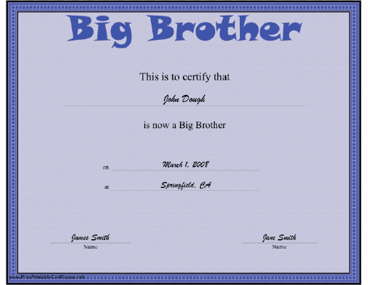 Big Brother certificate