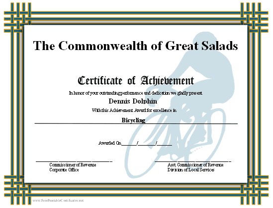 Achievement - Biking certificate