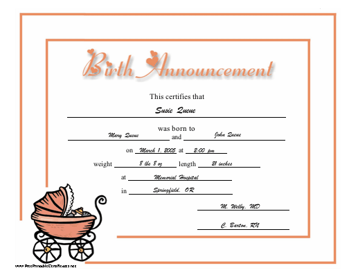Birth Announcement certificate