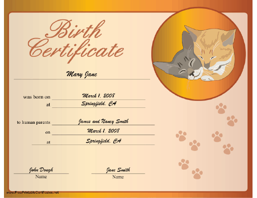 Cat Birth certificate