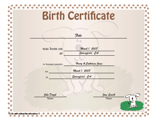 Birth Certificate for Puppies certificate