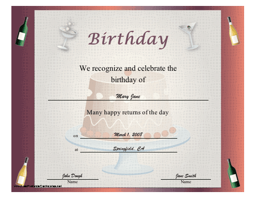 Birthday Certificate for Adults certificate