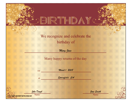 Birthday certificate