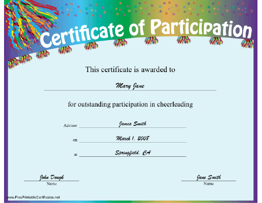 Cheerleading Participation certificate