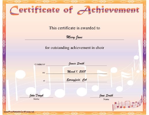 Choir Achievement certificate