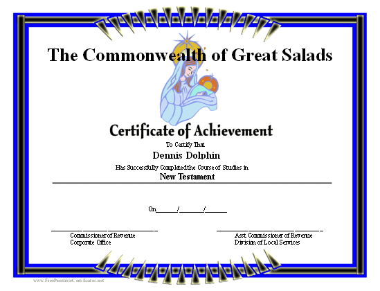 Achievement - Mary certificate