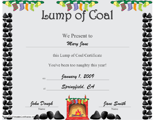 Christmas Lump of Coal certificate