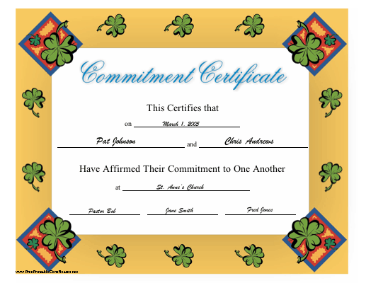 Commitment certificate