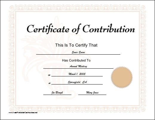 Contribution certificate