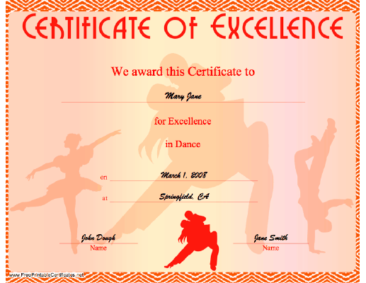Dance Excellence certificate