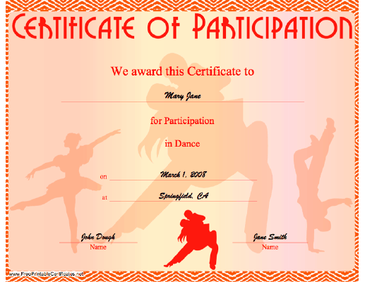 Dance Participation certificate