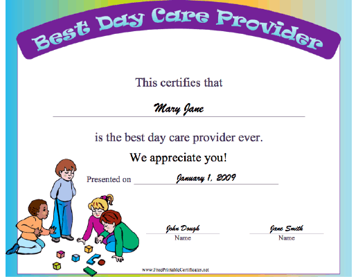 Best Day Care Provider certificate