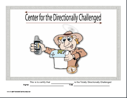 Directionally Challenged certificate