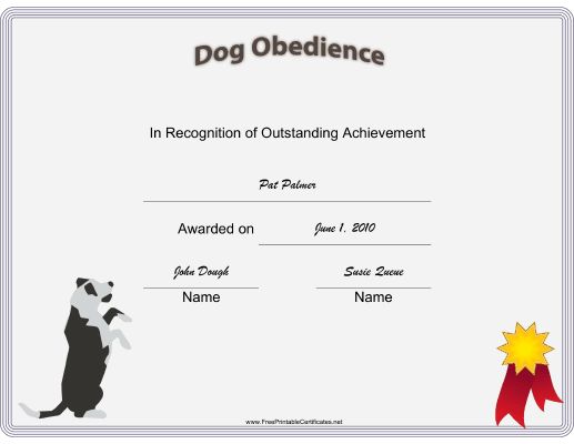 Dog Obedience certificate