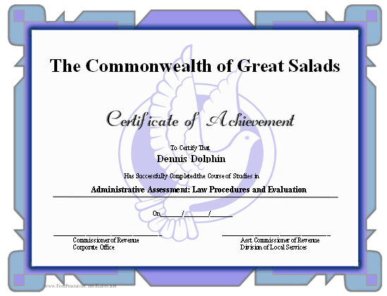 Achievement - Dove certificate