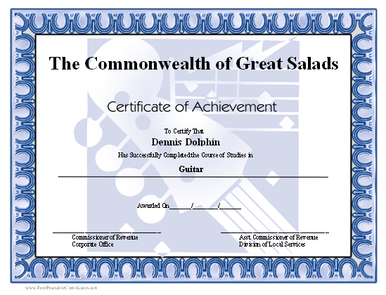 Achievement - Electric Guitar certificate