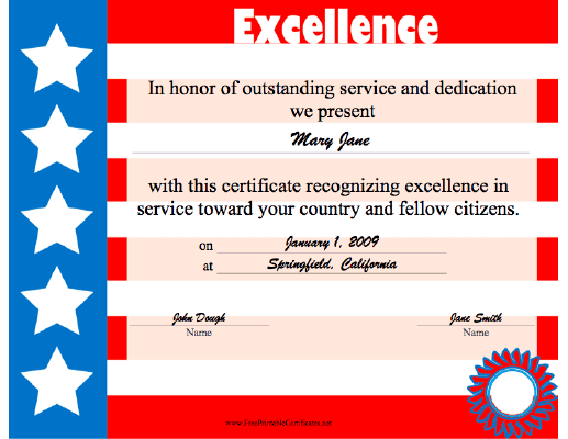Excellence in Red White and Blue certificate