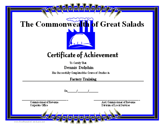 Achievement - Factory certificate