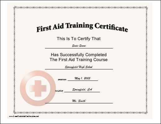 First Aid Training certificate
