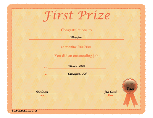First Prize certificate