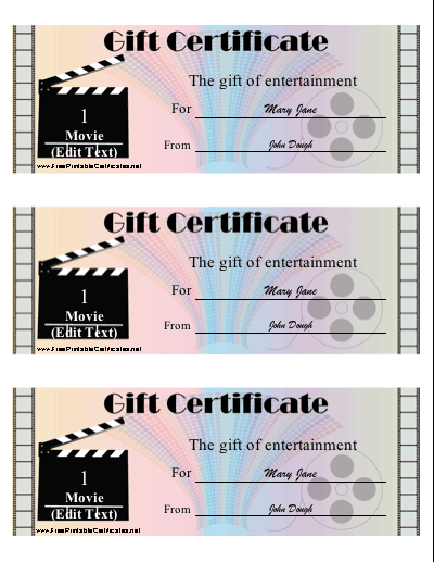 Movie Gift certificate