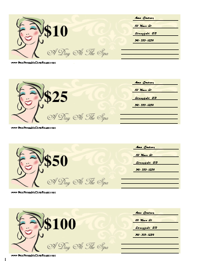 Blank Spa Gift certificate