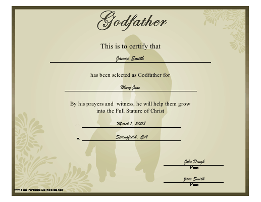 Godfather certificate