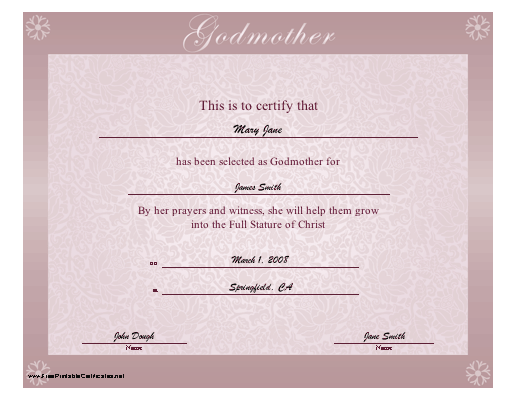 Godmother certificate