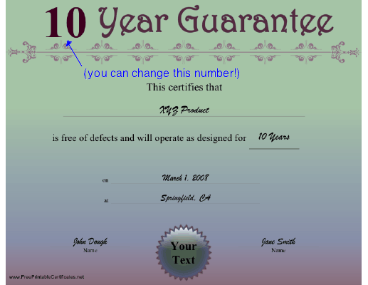 10 Year Guarantee certificate