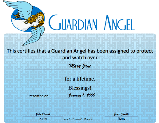 Guardian Angel certificate