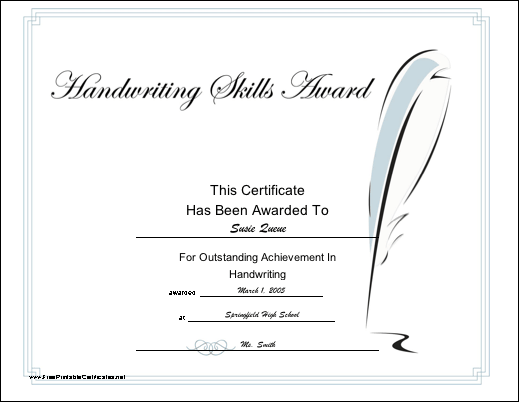 Handwriting Skill certificate