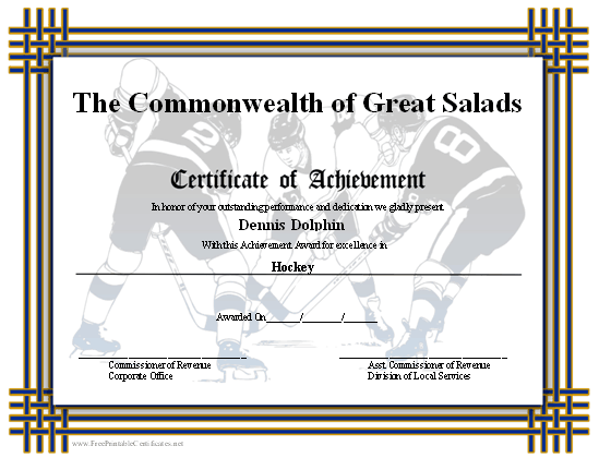 Achievement - Hockey certificate