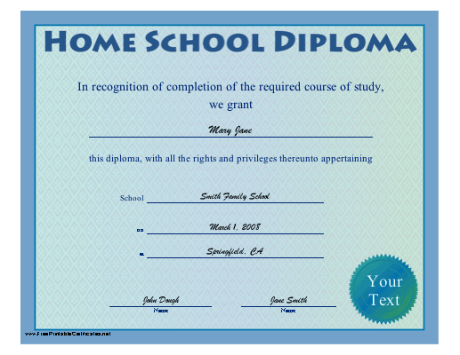 Home School Diploma certificate