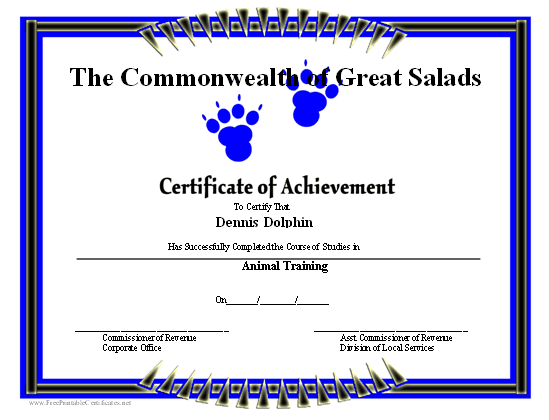 Achievement - Paw Prints certificate